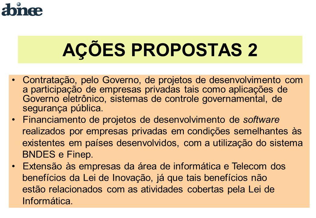Contratação, pelo Governo, de projetos de desenvolvimento com a participação de empresas privadas tais como aplicações de Governo eletrônico, sistemas de controle governamental, de segurança pública.