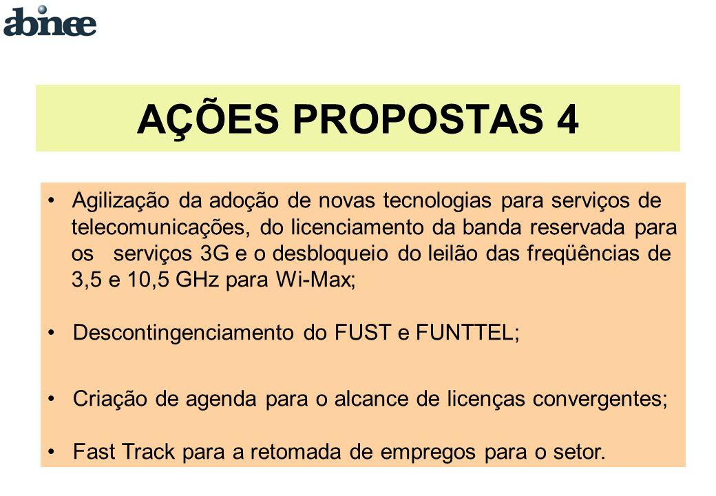 Agilização da adoção de novas tecnologias para serviços de telecomunicações, do licenciamento da banda reservada para os serviços 3G e o desbloqueio do leilão das freqüências de 3,5 e 10,5 GHz para Wi-Max; Descontingenciamento do FUST e FUNTTEL; Criação de agenda para o alcance de licenças convergentes; Fast Track para a retomada de empregos para o setor.