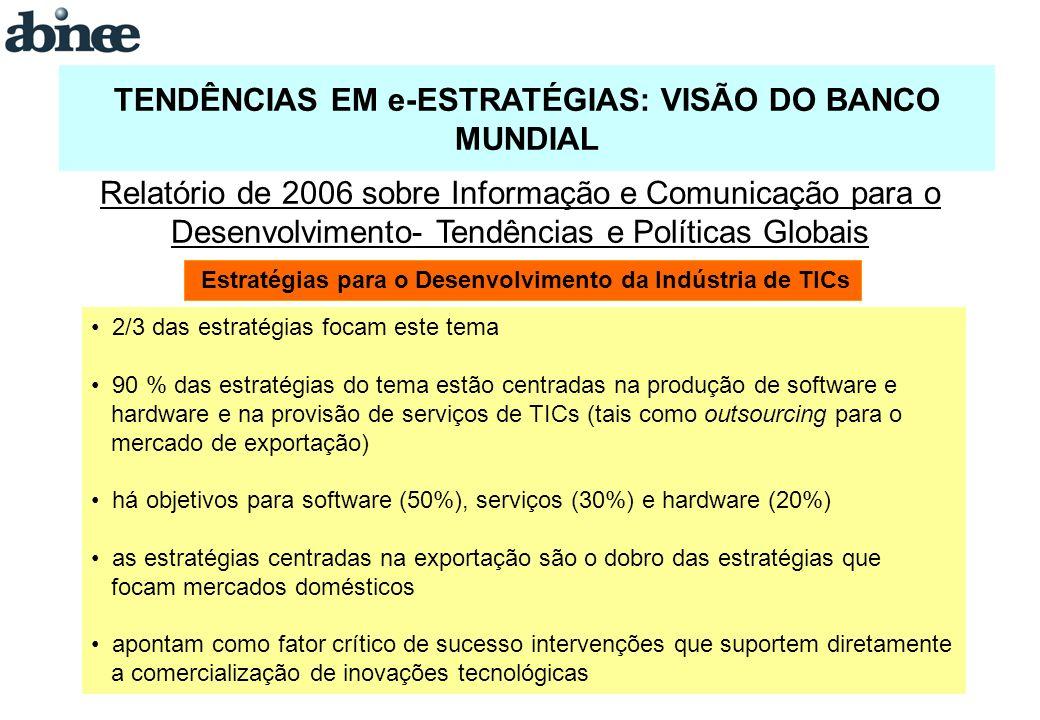 TENDÊNCIAS EM e-ESTRATÉGIAS: VISÃO DO BANCO MUNDIAL Estratégias para o Desenvolvimento da Indústria de TICs Relatório de 2006 sobre Informação e Comunicação para o Desenvolvimento- Tendências e Políticas Globais 2/3 das estratégias focam este tema 90 % das estratégias do tema estão centradas na produção de software e hardware e na provisão de serviços de TICs (tais como outsourcing para o mercado de exportação) há objetivos para software (50%), serviços (30%) e hardware (20%) as estratégias centradas na exportação são o dobro das estratégias que focam mercados domésticos apontam como fator crítico de sucesso intervenções que suportem diretamente a comercialização de inovações tecnológicas