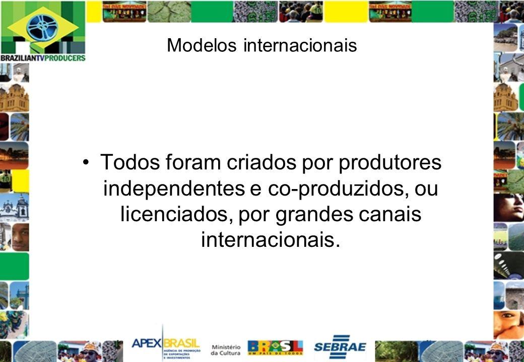 Modelos internacionais Todos foram criados por produtores independentes e co-produzidos, ou licenciados, por grandes canais internacionais.