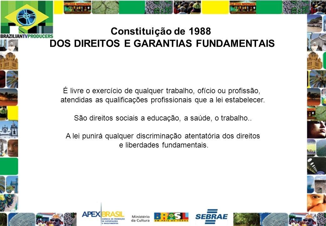 Constituição de 1988 DOS DIREITOS E GARANTIAS FUNDAMENTAIS É livre o exercício de qualquer trabalho, ofício ou profissão, atendidas as qualificações p