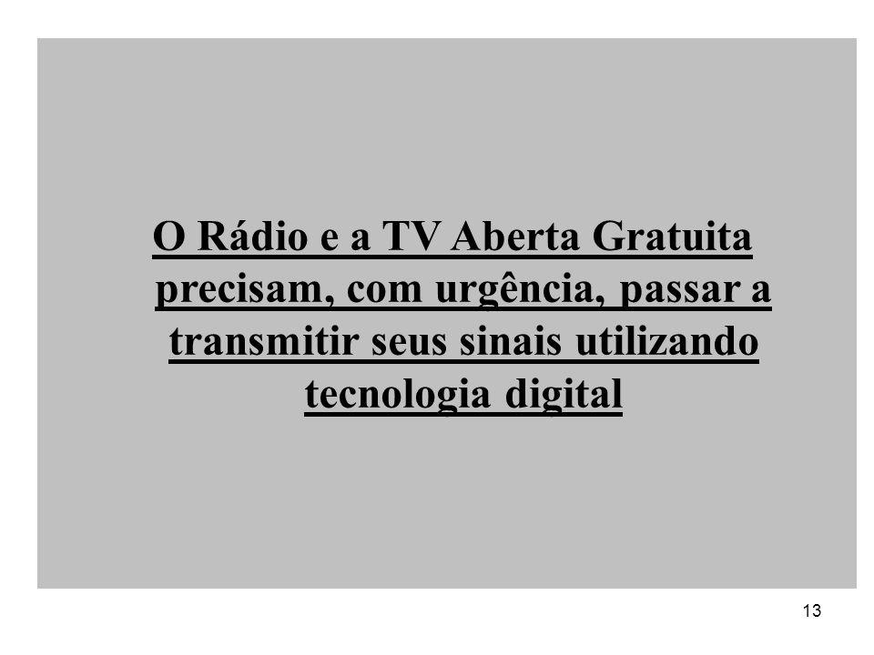 13 O Rádio e a TV Aberta Gratuita precisam, com urgência, passar a transmitir seus sinais utilizando tecnologia digital