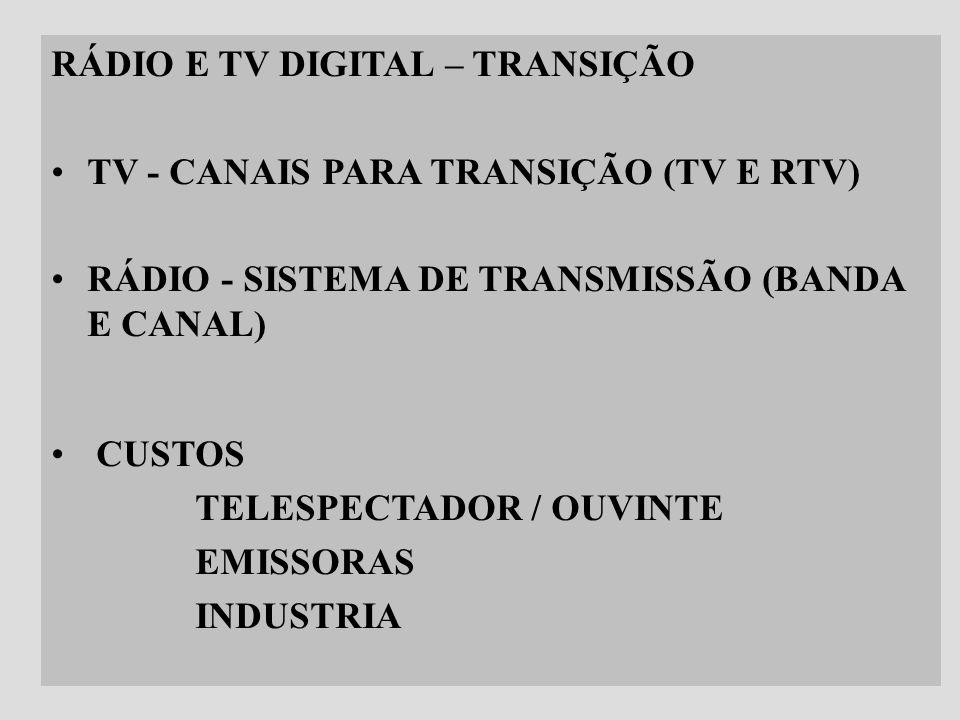 14 RÁDIO E TV DIGITAL – TRANSIÇÃO TV - CANAIS PARA TRANSIÇÃO (TV E RTV) RÁDIO - SISTEMA DE TRANSMISSÃO (BANDA E CANAL) CUSTOS TELESPECTADOR / OUVINTE