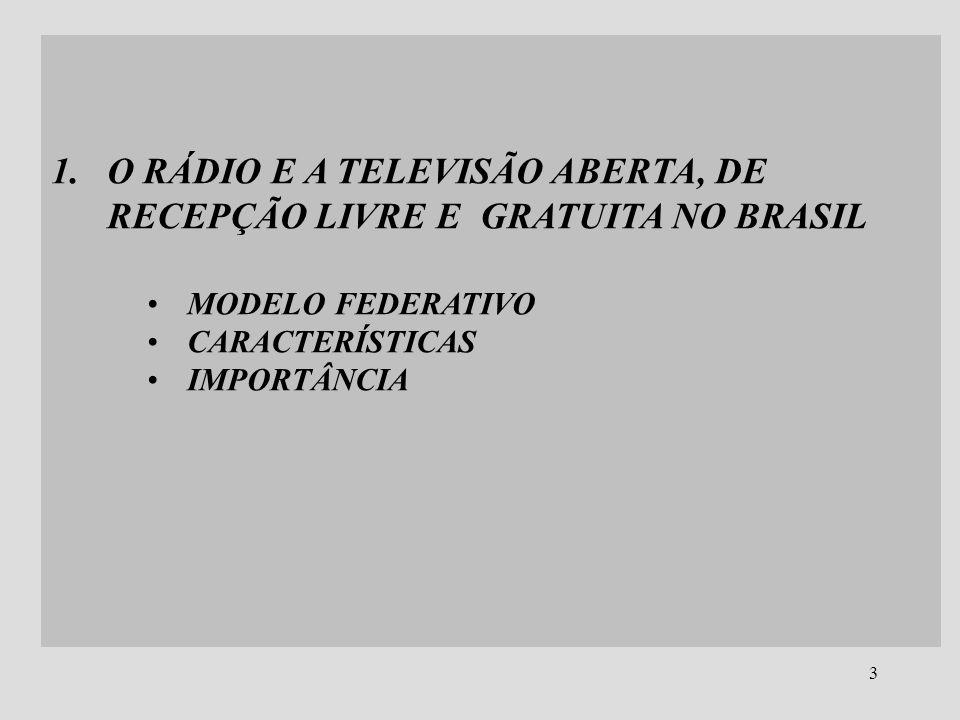 3 1.O RÁDIO E A TELEVISÃO ABERTA, DE RECEPÇÃO LIVRE E GRATUITA NO BRASIL MODELO FEDERATIVO CARACTERÍSTICAS IMPORTÂNCIA