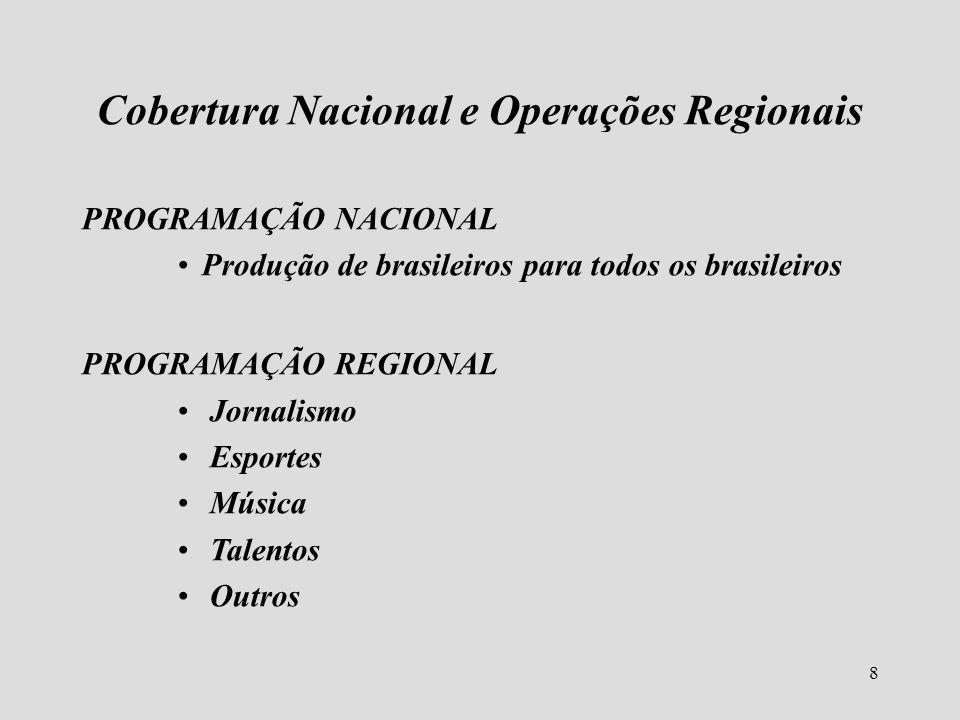 8 Cobertura Nacional e Operações Regionais PROGRAMAÇÃO NACIONAL Produção de brasileiros para todos os brasileiros PROGRAMAÇÃO REGIONAL Jornalismo Espo
