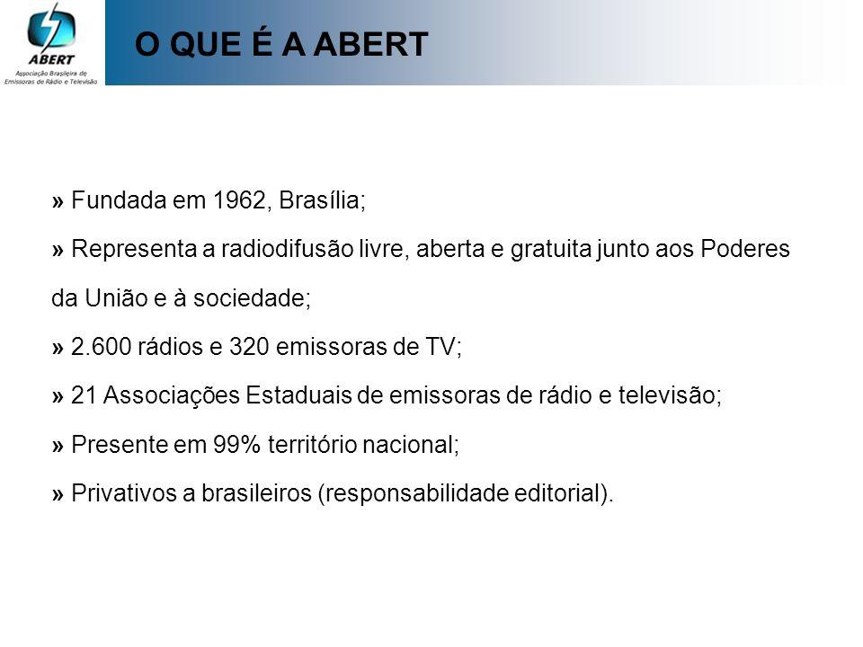 O QUE É A ABERT » Fundada em 1962, Brasília; » Representa a radiodifusão livre, aberta e gratuita junto aos Poderes da União e à sociedade; » 2.600 rá