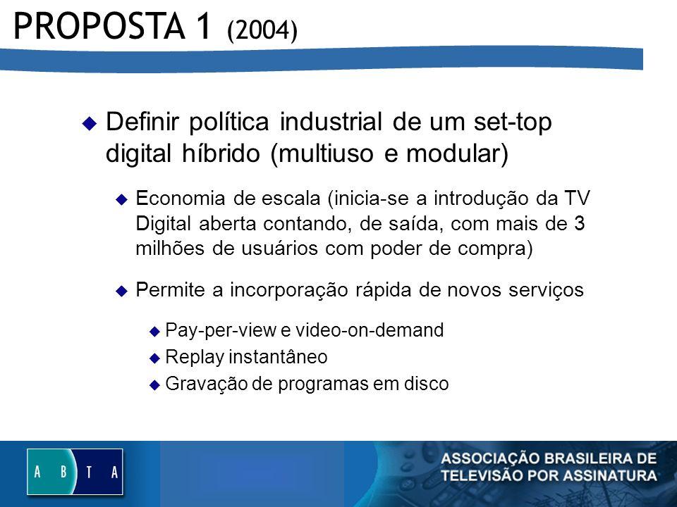 Definir política industrial de um set-top digital híbrido (multiuso e modular) u Economia de escala (inicia-se a introdução da TV Digital aberta conta