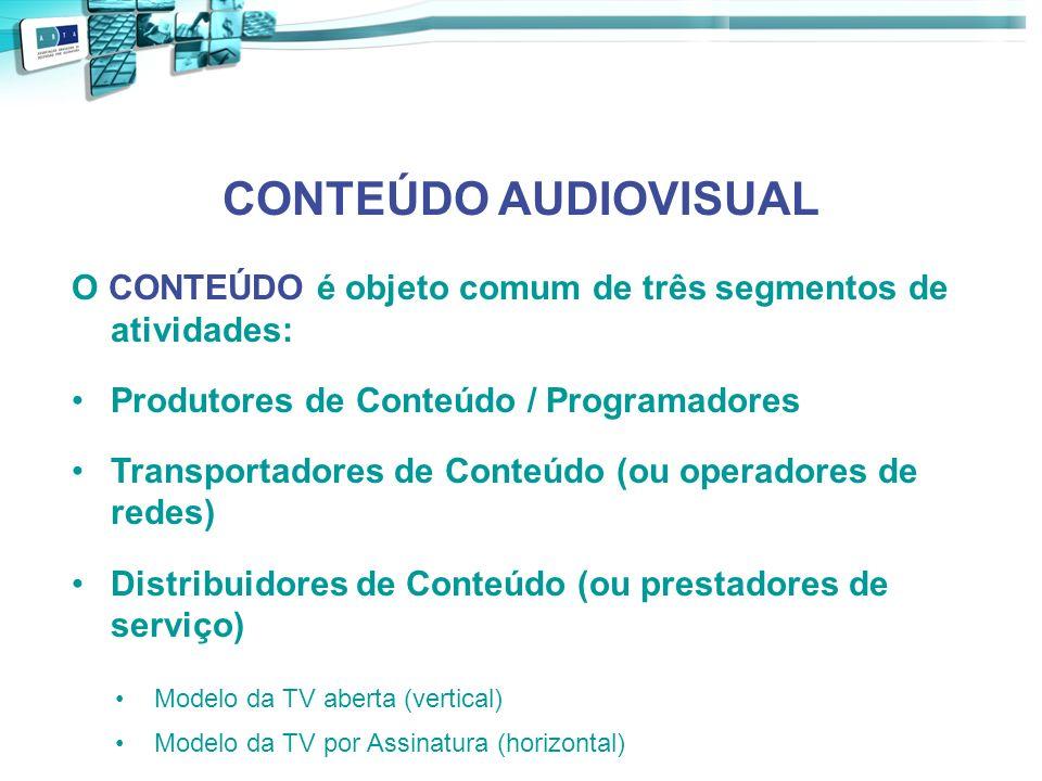CONTEÚDO AUDIOVISUAL O CONTEÚDO é objeto comum de três segmentos de atividades: Produtores de Conteúdo / Programadores Transportadores de Conteúdo (ou