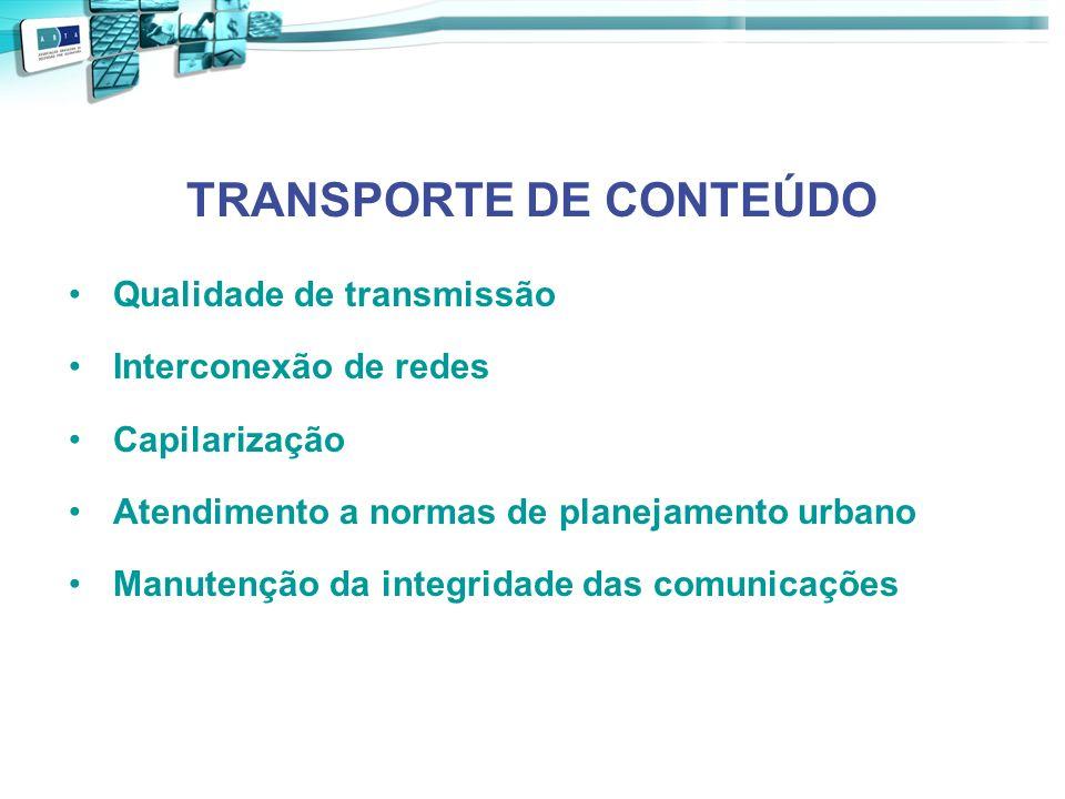 TRANSPORTE DE CONTEÚDO Qualidade de transmissão Interconexão de redes Capilarização Atendimento a normas de planejamento urbano Manutenção da integrid