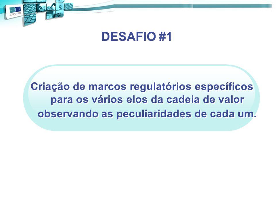 Criação de marcos regulatórios específicos para os vários elos da cadeia de valor observando as peculiaridades de cada um. DESAFIO #1