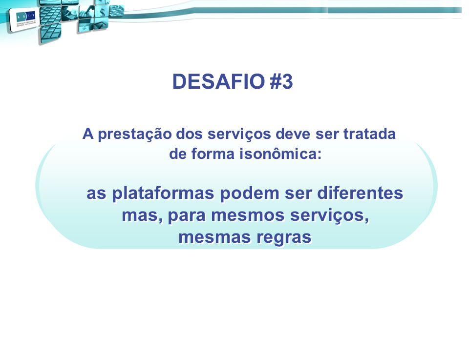 A prestação dos serviços deve ser tratada de forma isonômica: as plataformas podem ser diferentes mas, para mesmos serviços, mesmas regras DESAFIO #3