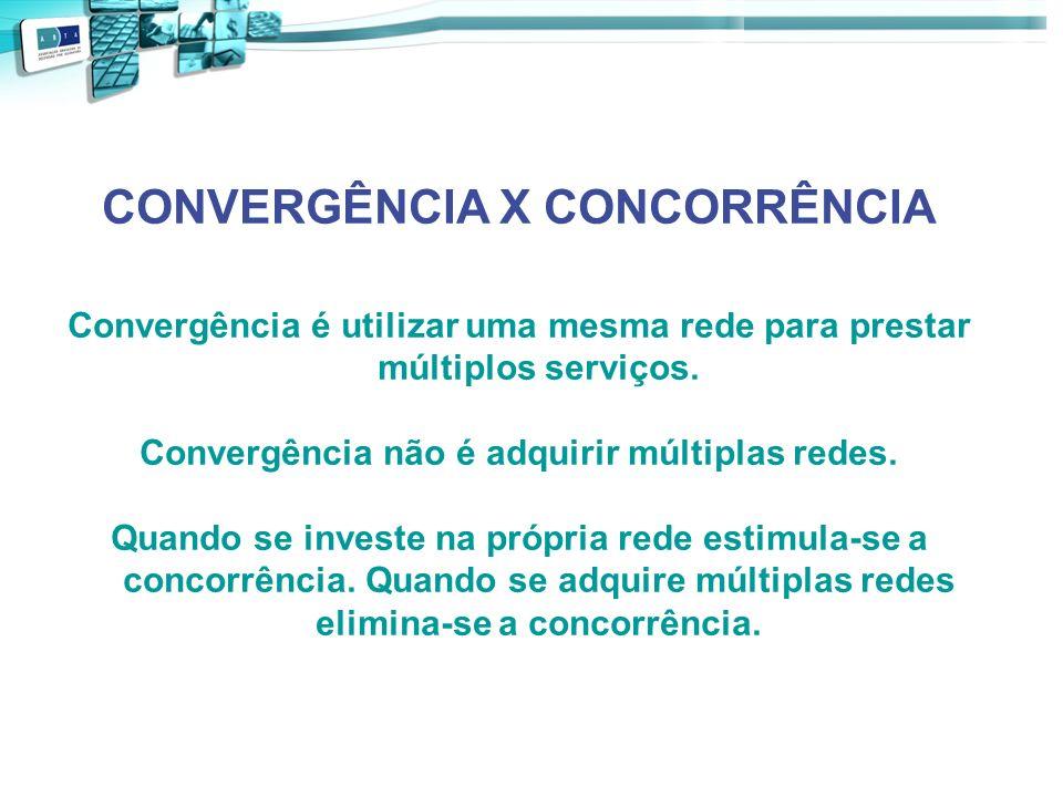 CONVERGÊNCIA X CONCORRÊNCIA Convergência é utilizar uma mesma rede para prestar múltiplos serviços. Convergência não é adquirir múltiplas redes. Quand