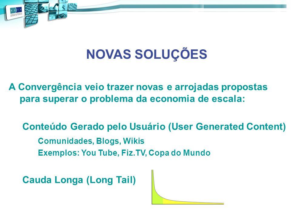 NOVAS SOLUÇÕES A Convergência veio trazer novas e arrojadas propostas para superar o problema da economia de escala: Conteúdo Gerado pelo Usuário (Use