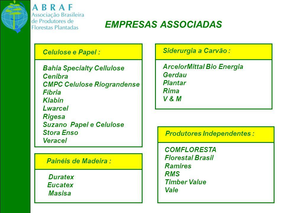 EMPRESAS ASSOCIADAS Celulose e Papel : Bahia Specialty Cellulose Cenibra CMPC Celulose Riograndense Fíbria Klabin Lwarcel Rigesa Suzano Papel e Celulo