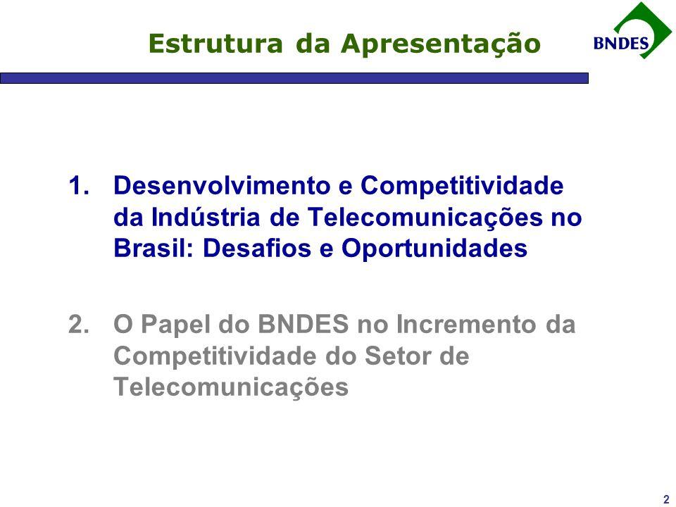 2 Estrutura da Apresentação 1.Desenvolvimento e Competitividade da Indústria de Telecomunicações no Brasil: Desafios e Oportunidades 2.O Papel do BNDES no Incremento da Competitividade do Setor de Telecomunicações