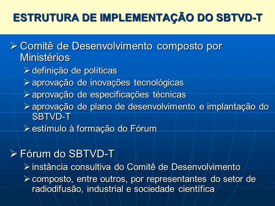 ESTRUTURA DE IMPLEMENTAÇÃO DO SBTVD-T Comitê de Desenvolvimento composto por Ministérios Comitê de Desenvolvimento composto por Ministérios definição