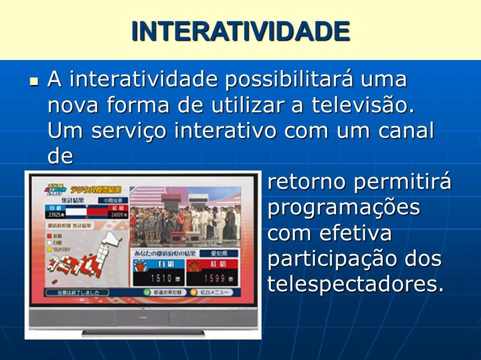 Interatividade A interatividade possibilitará uma nova forma de utilizar a televisão. Um serviço interativo com um canal de retorno permitirá programa