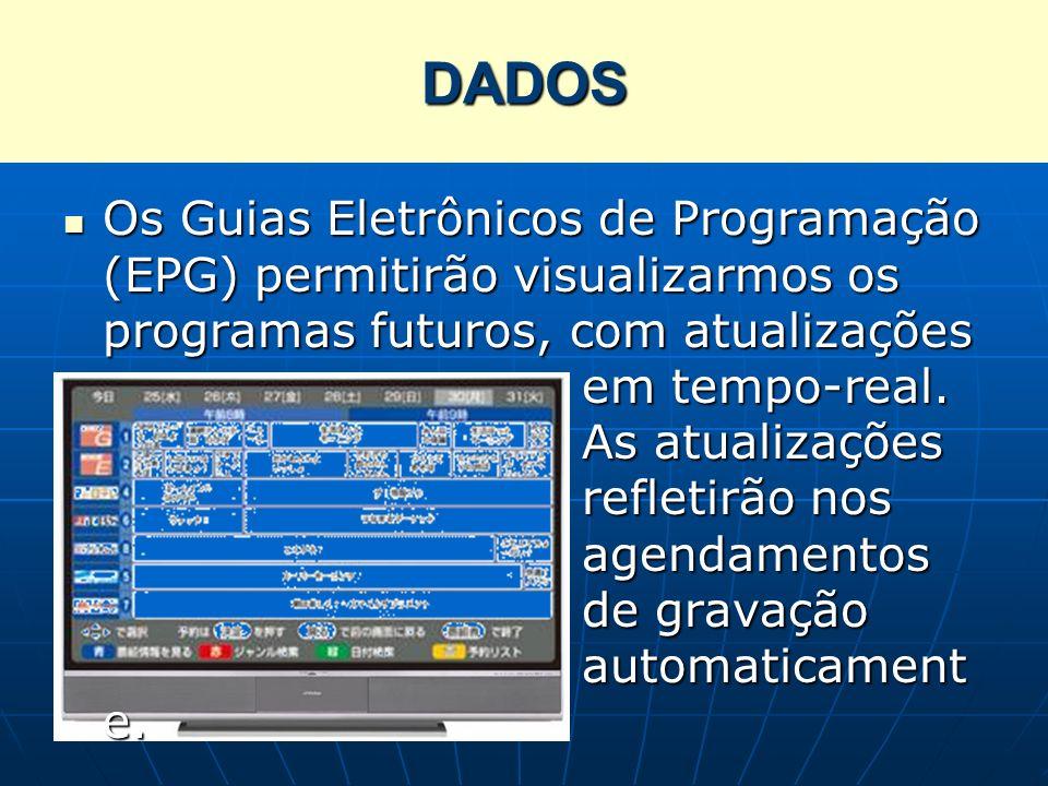 Os Guias Eletrônicos de Programação (EPG) permitirão visualizarmos os programas futuros, com atualizações em tempo-real. As atualizações refletirão no