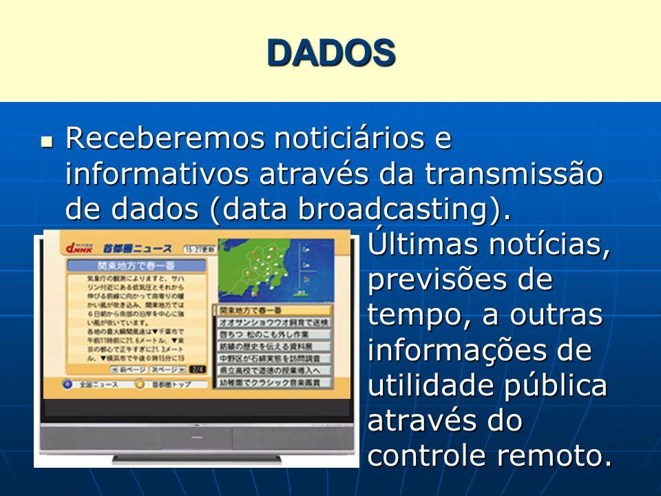 Receberemos noticiários e informativos através da transmissão de dados (data broadcasting). Últimas notícias, previsões de tempo, a outras informações
