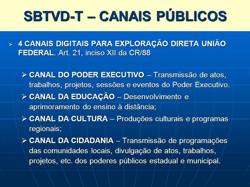 SBTVD-T – CANAIS PÚBLICOS 4 CANAIS DIGITAIS PARA EXPLORAÇÃO DIRETA UNIÃO FEDERAL. Art. 21, inciso XII da CR/88 4 CANAIS DIGITAIS PARA EXPLORAÇÃO DIRET