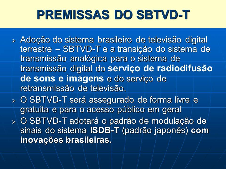 PREMISSAS DO SBTVD-T Adoção do sistema brasileiro de televisão digital terrestre – SBTVD-T e a transição do sistema de transmissão analógica para o si