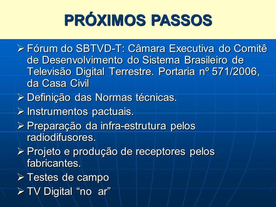 Os Próximos Passos Fórum do SBTVD-T: Câmara Executiva do Comitê de Desenvolvimento do Sistema Brasileiro de Televisão Digital Terrestre. Portaria nº 5