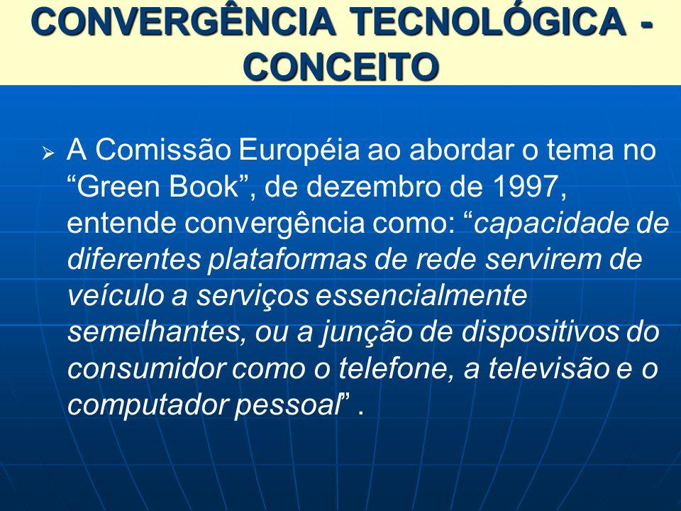 A Comissão Européia ao abordar o tema no Green Book, de dezembro de 1997, entende convergência como: capacidade de diferentes plataformas de rede serv