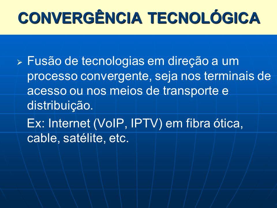Fusão de tecnologias em direção a um processo convergente, seja nos terminais de acesso ou nos meios de transporte e distribuição. Ex: Internet (VoIP,