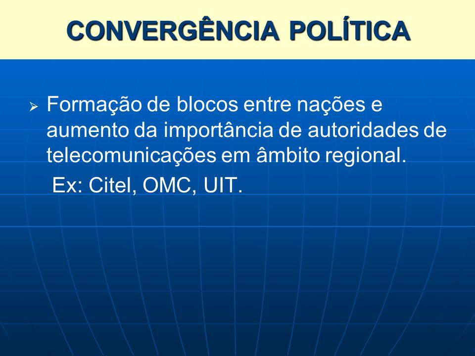 Formação de blocos entre nações e aumento da importância de autoridades de telecomunicações em âmbito regional. Ex: Citel, OMC, UIT. CONVERGÊNCIA POLÍ