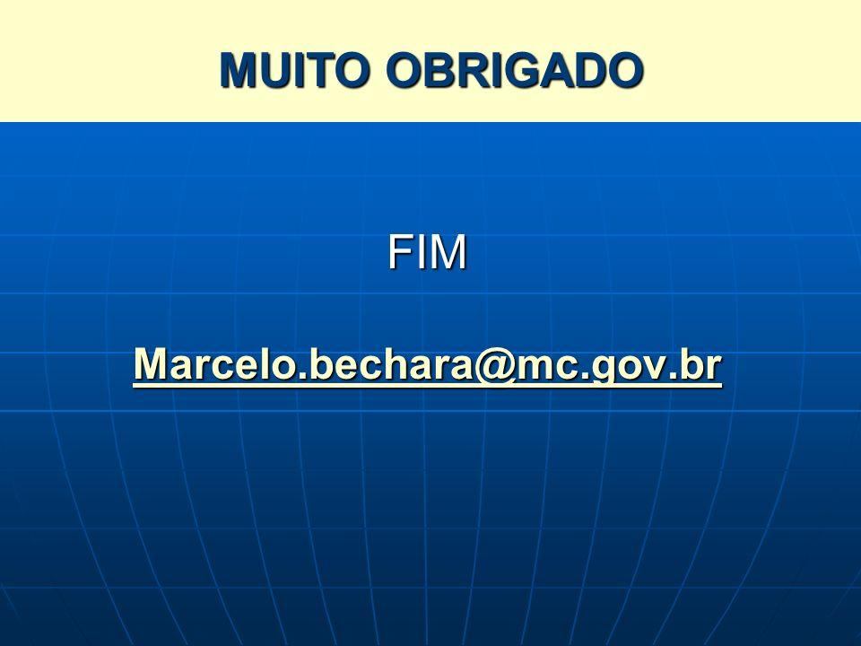 SISTEMA BRASILEIRO DE TELEVISÃO DIGITAL TERRESTRE – SBTVD-T FIM Marcelo.bechara@mc.gov.br MUITO OBRIGADO
