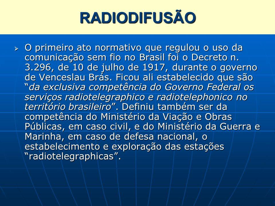 RADIODIFUSÃO O primeiro ato normativo que regulou o uso da comunicação sem fio no Brasil foi o Decreto n. 3.296, de 10 de julho de 1917, durante o gov