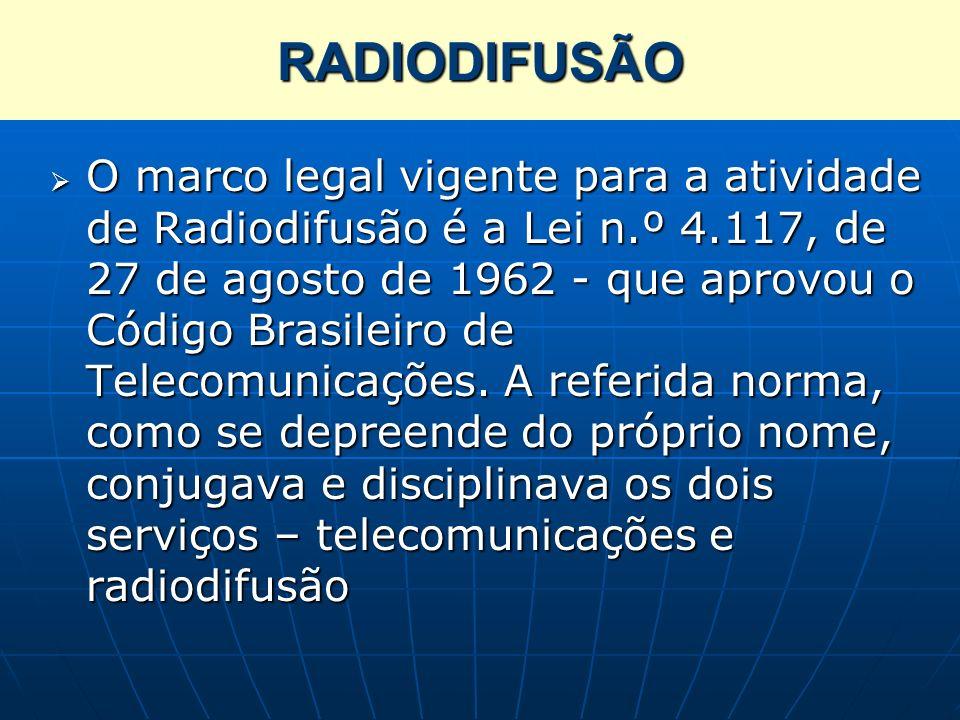 RADIODIFUSÃO O marco legal vigente para a atividade de Radiodifusão é a Lei n.º 4.117, de 27 de agosto de 1962 - que aprovou o Código Brasileiro de Te