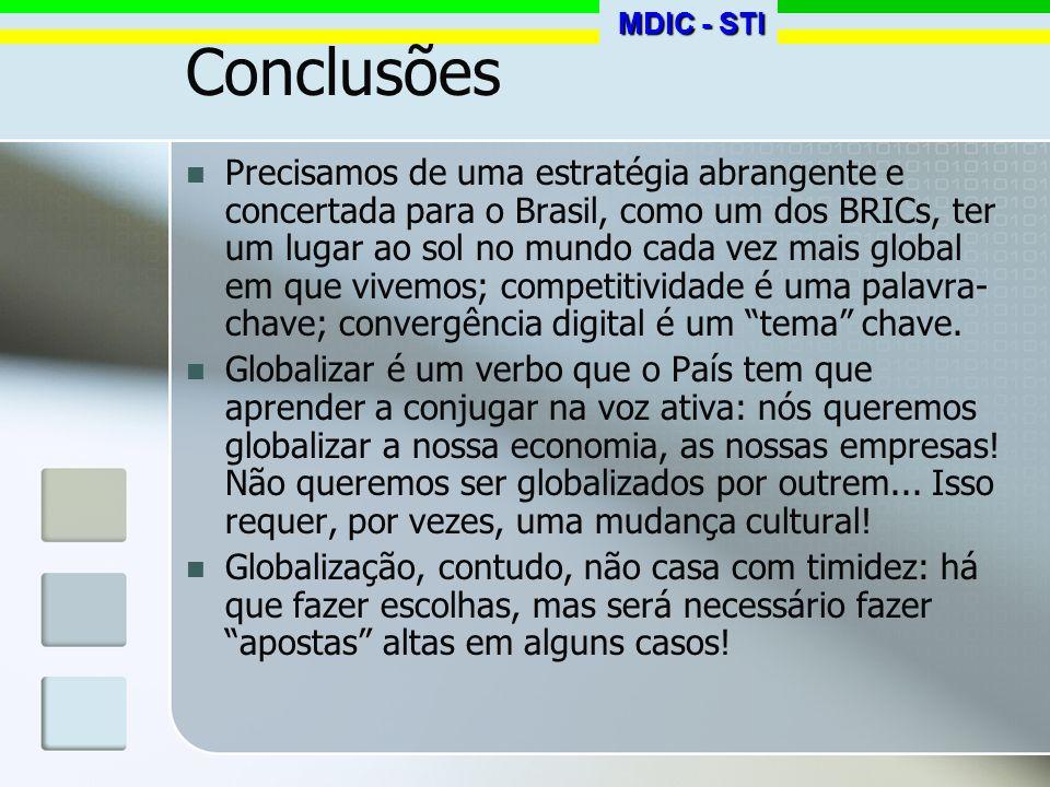 Conclusões Precisamos de uma estratégia abrangente e concertada para o Brasil, como um dos BRICs, ter um lugar ao sol no mundo cada vez mais global em