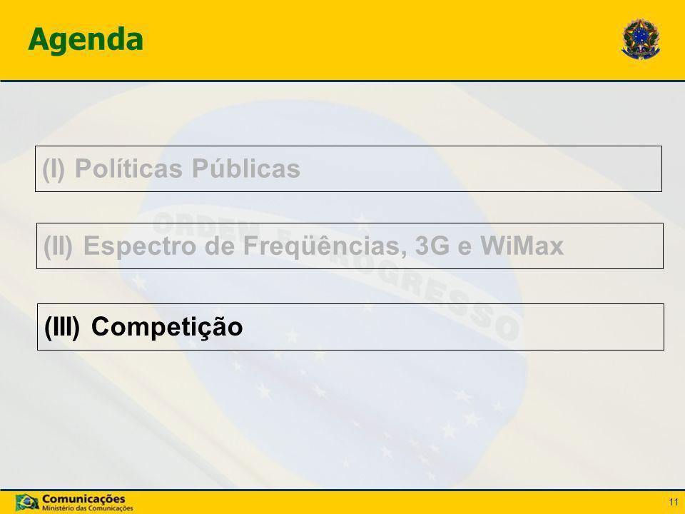 11 (I) Políticas Públicas Agenda (II) Espectro de Freqüências, 3G e WiMax (III) Competição