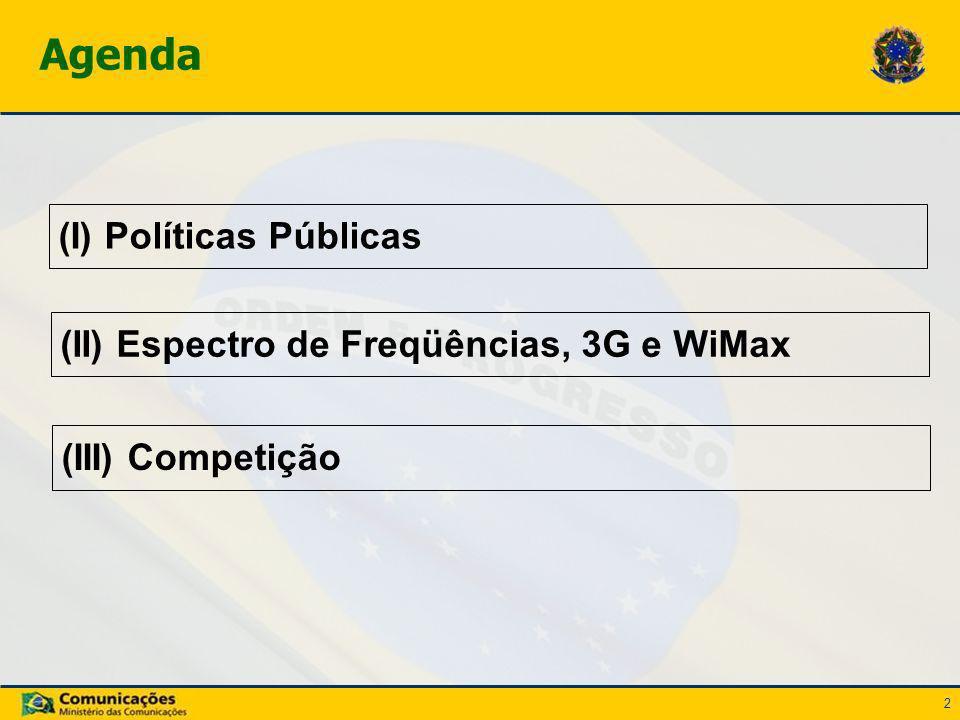 2 (I) Políticas Públicas Agenda (II) Espectro de Freqüências, 3G e WiMax (III) Competição