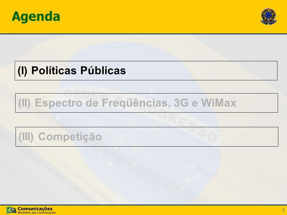 3 (I) Políticas Públicas Agenda (II) Espectro de Freqüências, 3G e WiMax (III) Competição