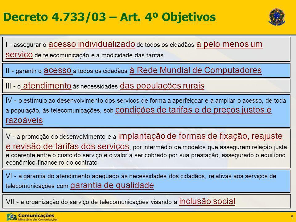 5 Decreto 4.733/03 – Art. 4º Objetivos I - assegurar o acesso individualizado de todos os cidadãos a pelo menos um serviço de telecomunicação e a modi