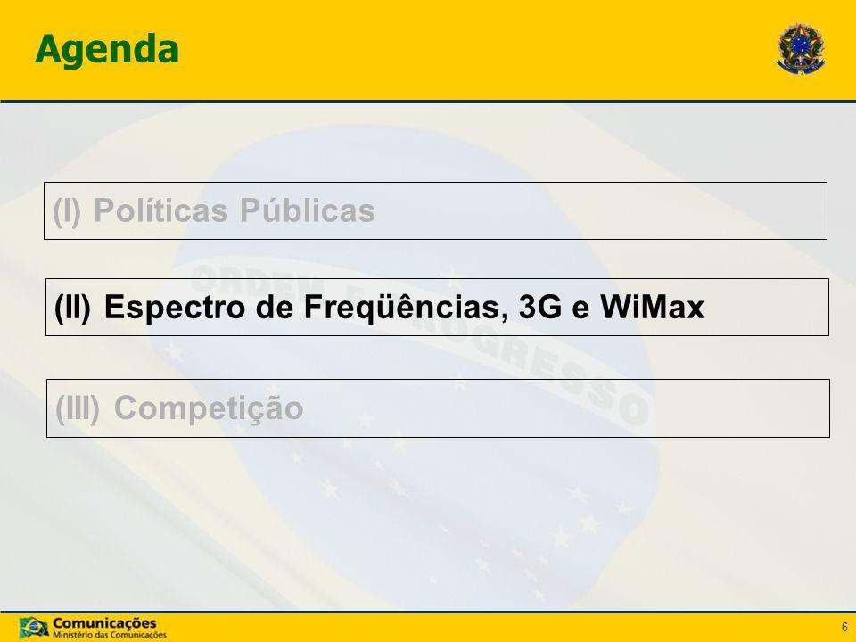 6 (I) Políticas Públicas Agenda (II) Espectro de Freqüências, 3G e WiMax (III) Competição