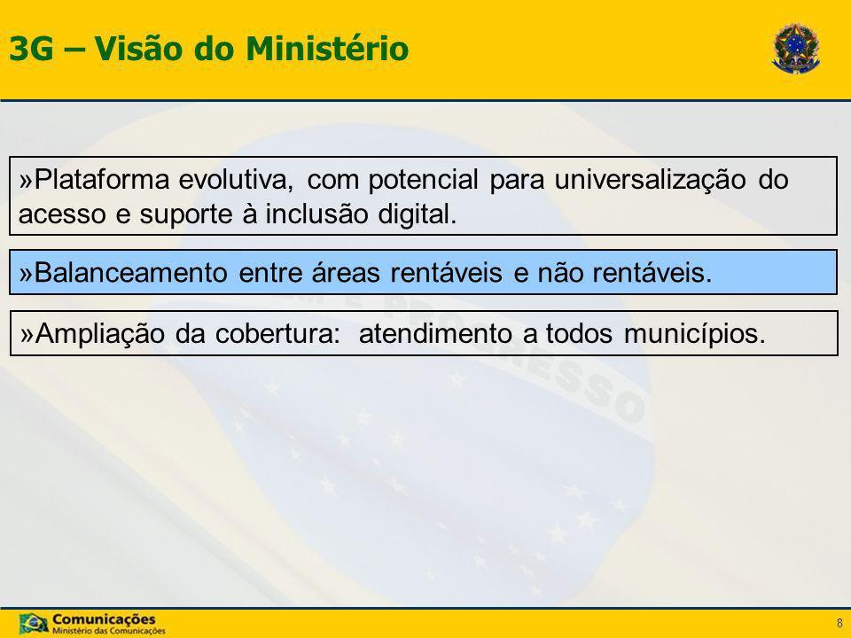 8 3G – Visão do Ministério »Ampliação da cobertura: atendimento a todos municípios. »Balanceamento entre áreas rentáveis e não rentáveis. »Plataforma