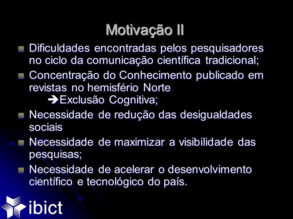 Motivação II Dificuldades encontradas pelos pesquisadores no ciclo da comunicação científica tradicional; Concentração do Conhecimento publicado em re