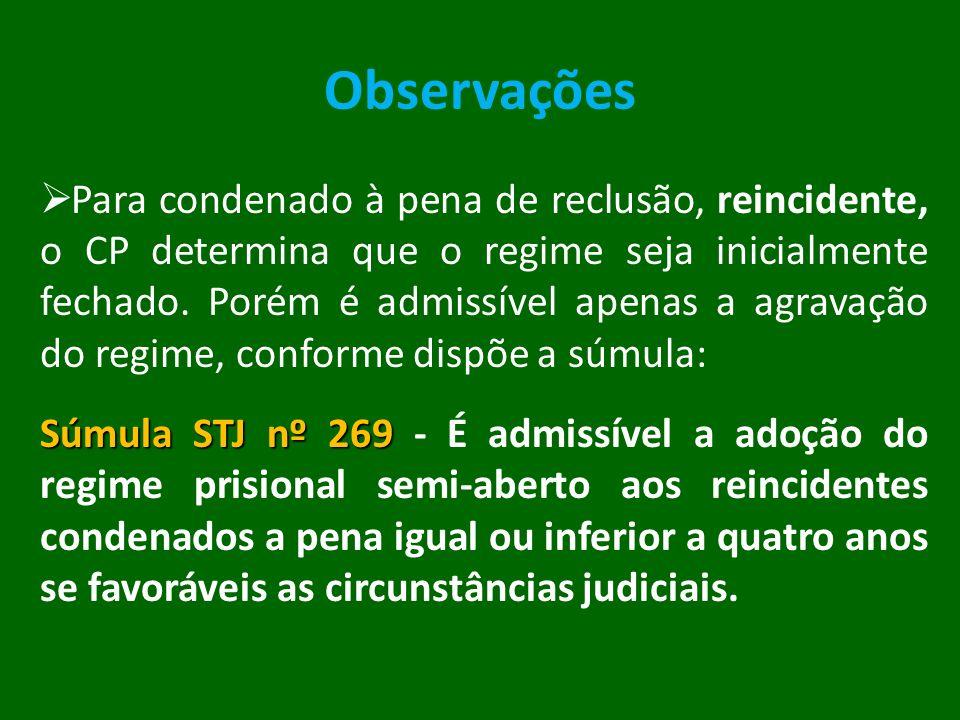 Observações Para condenado à pena de reclusão, reincidente, o CP determina que o regime seja inicialmente fechado. Porém é admissível apenas a agravaç