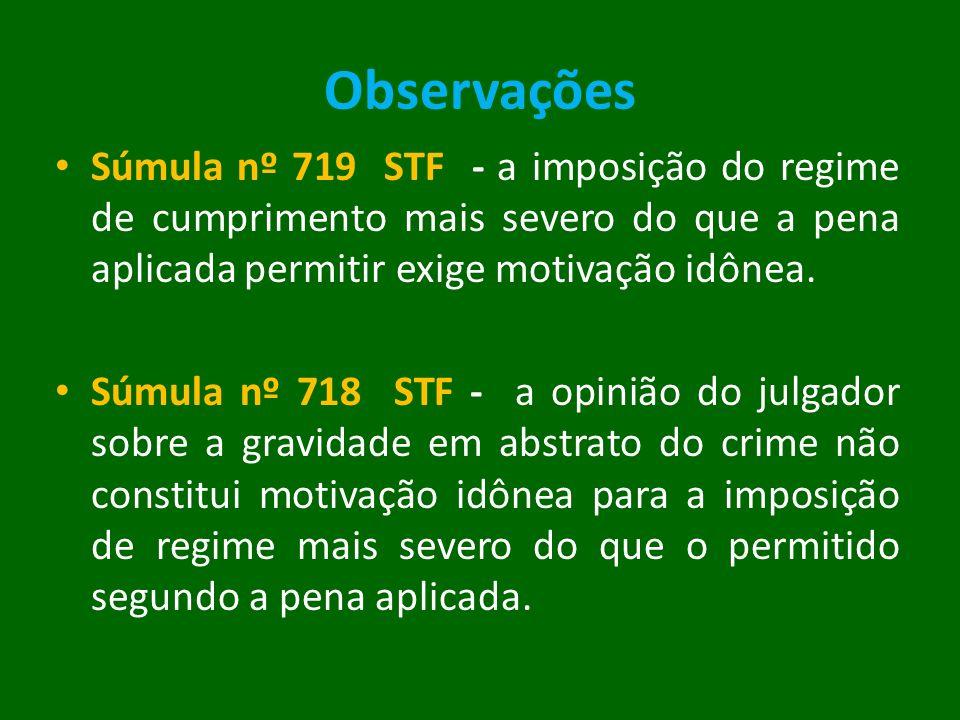 Observações Súmula nº 719 STF - a imposição do regime de cumprimento mais severo do que a pena aplicada permitir exige motivação idônea. Súmula nº 718