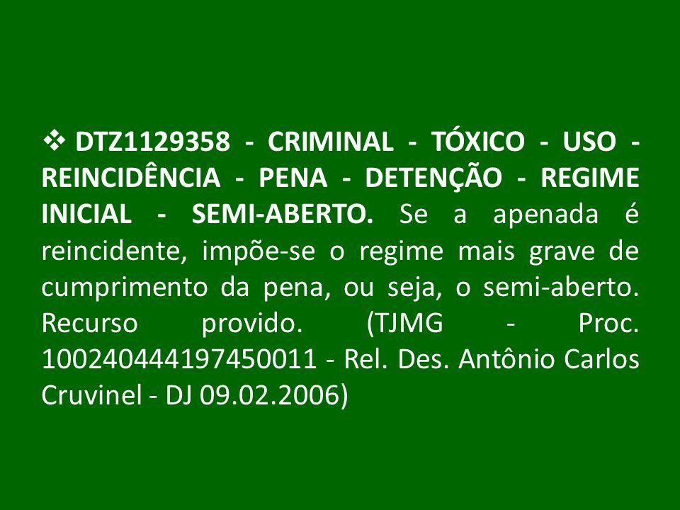 DTZ1129358 - CRIMINAL - TÓXICO - USO - REINCIDÊNCIA - PENA - DETENÇÃO - REGIME INICIAL - SEMI-ABERTO. Se a apenada é reincidente, impõe-se o regime ma