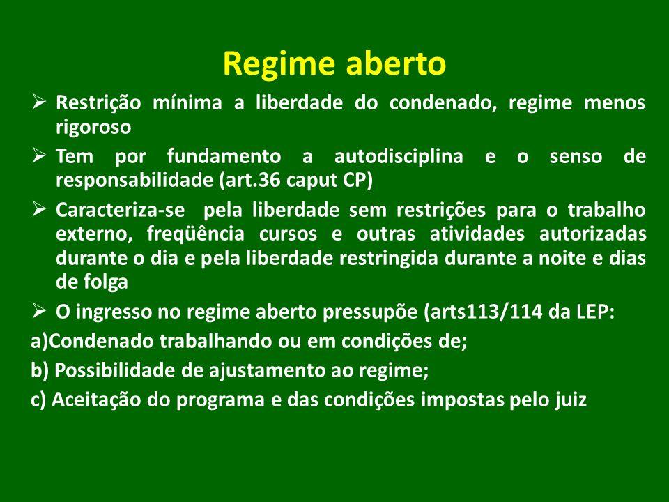 Regime aberto Restrição mínima a liberdade do condenado, regime menos rigoroso Tem por fundamento a autodisciplina e o senso de responsabilidade (art.