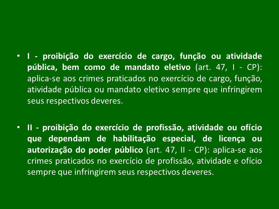 I - proibição do exercício de cargo, função ou atividade pública, bem como de mandato eletivo (art. 47, I - CP): aplica-se aos crimes praticados no ex