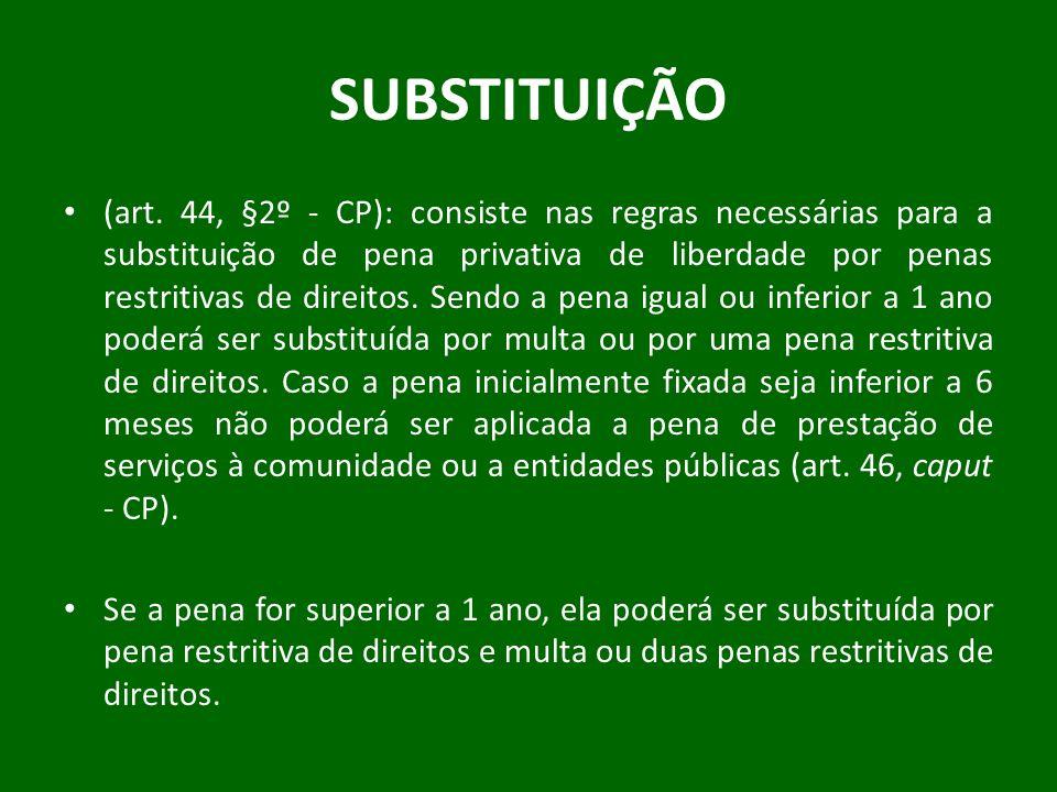 SUBSTITUIÇÃO (art. 44, §2º - CP): consiste nas regras necessárias para a substituição de pena privativa de liberdade por penas restritivas de direitos