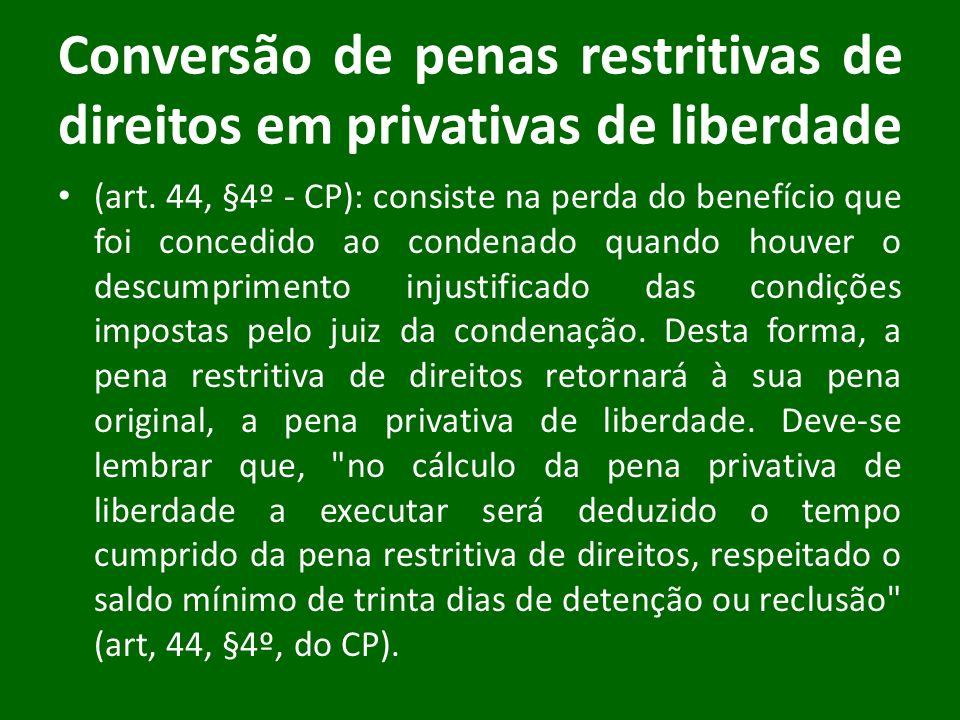 Conversão de penas restritivas de direitos em privativas de liberdade (art. 44, §4º - CP): consiste na perda do benefício que foi concedido ao condena