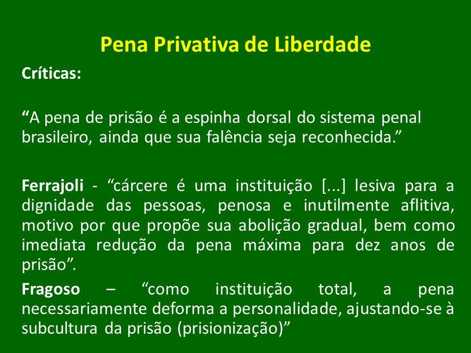 Pena Privativa de Liberdade Críticas: A pena de prisão é a espinha dorsal do sistema penal brasileiro, ainda que sua falência seja reconhecida. Ferraj