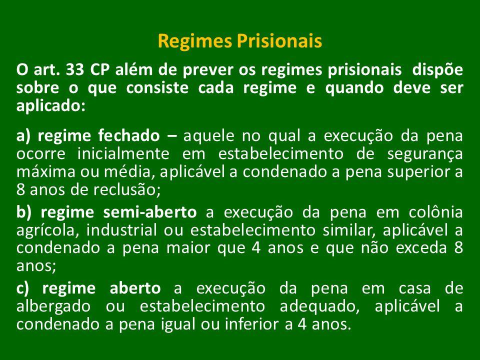 Regimes Prisionais O art. 33 CP além de prever os regimes prisionais dispõe sobre o que consiste cada regime e quando deve ser aplicado: a) regime fec