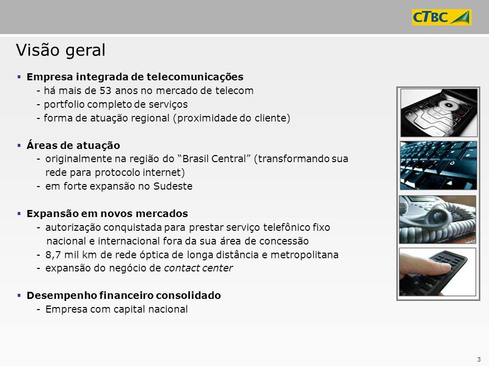 4 Autorização Iniciada em 2003 Concessão 304 localidades em 4 estados (MG/SP/GO/MS) Autorização Concessão Áreas de atuação 8,7 mil km de fibra óptica Código de longa distância